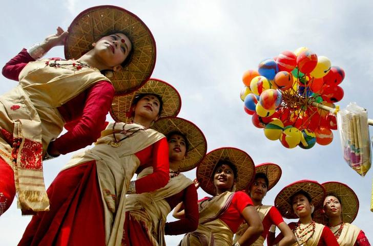 Folk dancers from Assam perform Bihu dance during Festival of Gardens in Chandigarh